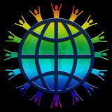 World wide web rainbow. Planet Earth with people silhouette around the outer edge layered with a linear web and map Stock Image