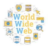 World Wide Web rond de concept de lineart Images stock