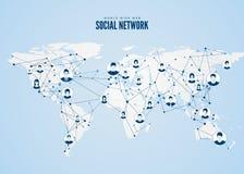 World Wide Web Structure de réseau global avec la carte de planète sur le fond Illustration de vecteur illustration stock