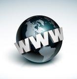 World Wide Web um Kugel Lizenzfreie Stockfotografie