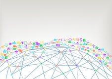 World Wide Web und Internet des Konzeptes der Sachen (IoT) der verbundenen Geräte Wireframe-Modell der Welt Stockbilder