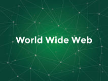 World wide web white text illustration with green constellation map as background. Vector vector illustration
