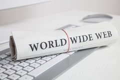 World wide web written on newspaper Royalty Free Stock Photography