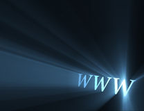 World wide web www light flare. World wide web sign (www the symbolic meaning of internet) with powerful blue light halo. Extended flares for cropping Stock Image