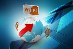 World wifi Earth broadband symbol Royalty Free Stock Photo