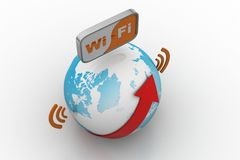 World wifi Earth broadband symbol stock illustration