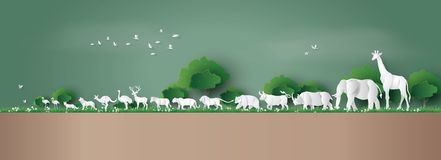 World Wildlife Day. With the animal in forest , Paper art and digital craft style Royalty Free Stock Image