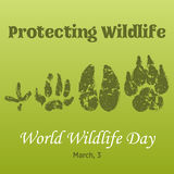 World Wildlife Day background with with animals tracks. Vector illustration for you design, card, banner, poster Stock Photo