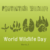 World Wildlife Day background with with animals tracks. Vector illustration for you design, card, banner, poster. Calendar or placard template. March 3 Stock Image