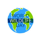 World Wildlife Day card. World Wildlife Day. Vector design element. Suitable for souvenir magnet, sticker, poster, banner Stock Images