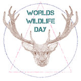 World Wildlife Day with deer. Vector illustration of World Wildlife Day with deer in retro style. March 3. Can be used for your design, card, banner, poster and Stock Photo