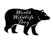 World Wildlife Day. 3 March. Black silhouette of bear Royalty Free Stock Image