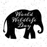 World Wildlife Day. 3 March. Black silhouette of elephant Stock Photos