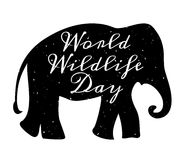 World Wildlife Day. 3 March. Black silhouette of elephant Royalty Free Stock Image