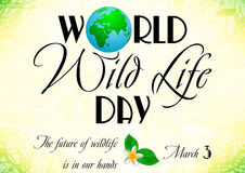World wildlife day in March 3. Earth globe in composition of word World on background with landscape. World wild life day in March 3. Vector illustration Royalty Free Stock Photos