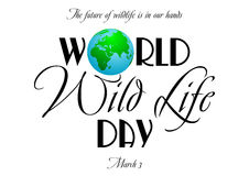 World wildlife day in March 3. Earth globe in composition of word World on white background. World wild life day in March 3. Vector illustration Royalty Free Stock Photos
