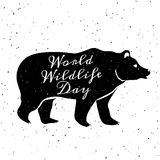 World Wildlife Day. 3 March. Grunge background with black silhouette of bear and lettering Stock Photos