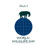 World Wildlife Day, March 3. Vector illustration for you design, card, banner, poster or calendar Royalty Free Stock Images