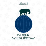 World Wildlife Day, March 3. Vector illustration for you design, card, banner, poster or calendar Stock Photos