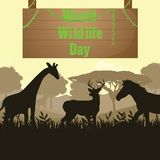 World Wildlife Day, 3 March. Wild animals in forest conceptual illustration Stock Photos