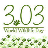 World Wildlife Day Poster. With date 3.03 and green paws Stock Photography