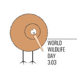 World Wildlife Day Poster. Funny cartoon kiwi standing and looking to the side Royalty Free Stock Photo