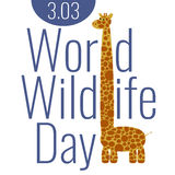 World Wildlife Day Poster with Giraffe. World wildlife day poster with funny cartoon giraffe Stock Photos