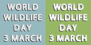 World Wildlife Day. Rounded paper and retro style  font lettering of world wildlife day 3 march Stock Photos