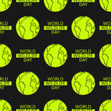World Wildlife Day seamless pattern. World Wildlife Day tileable background. Vector design element, seamless pattern with symbol of planet Earth. Text and green Royalty Free Stock Photos