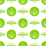 World Wildlife Day seamless pattern. World Wildlife Day tileable background. Vector design element, seamless pattern with symbol of plants. Green leaves and text Stock Photos