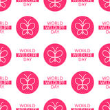 World Wildlife Day seamless pattern. World Wildlife Day tileable background. Vector design element, seamless pattern with symbols of insects. Pink butterfly and Stock Image