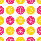 World Wildlife Day seamless pattern. World Wildlife Day tileable background. Vector design element, seamless pattern with symbols of insects. Pink butterfly and Stock Photo