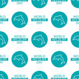 World Wildlife Day seamless pattern. World Wildlife Day tileable background. Vector design element, seamless pattern with symbols of marine animals. Dolphin and Stock Image