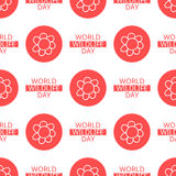 World Wildlife Day seamless pattern. World Wildlife Day tileable background. Vector design element, seamless pattern with symbols of plants and flowers. Red Stock Photography