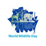 World wildlife day. Concept with white background Royalty Free Stock Image