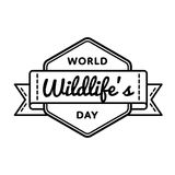World Wildlifes day greeting emblem Stock Photography
