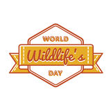 World Wildlifes day greeting emblem Royalty Free Stock Photos