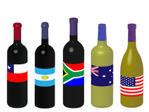 World Wine Bottles with Flags 3D Stock Photography