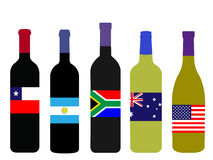 World Wine Bottles with Flags Royalty Free Stock Photography