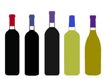 World Wines Full Bottles Illustration Royalty Free Stock Photo