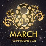 World Women`s Day card. With flowers . Vector Royalty Free Stock Photography