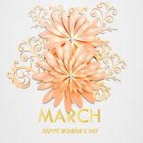 World Women`s Day card. With flowers . Vector Stock Image
