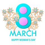World Women`s Day card. With flowers . Vector Royalty Free Stock Image