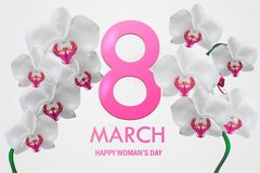 World Women`s Day card. With flowers . Vector Vector Illustration