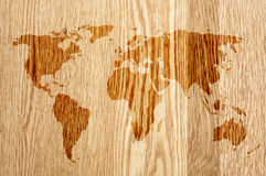 World on wood Stock Photos