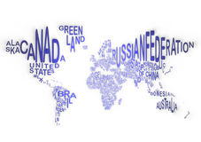 The world in words, planisphere. A globe made by words of the nations, America, Middle East, Europe, Africa, Asia, Oceania Stock Images