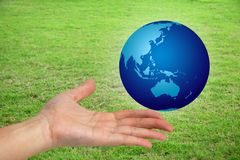 The world in your hand. Hand holding a the world with a green grassy field in the bckground Royalty Free Stock Image