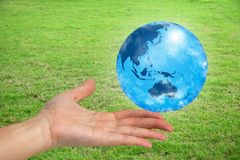 The world in your hand. With green grassy background Royalty Free Stock Images