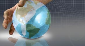 The world in your hands. Hand on a globe stock illustration