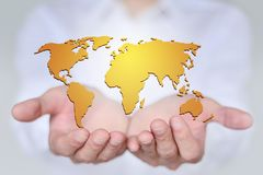 The world is in your hands, the concept of creative map Stock Images